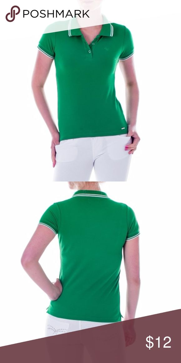 """Mia Mia Junior Girl Polo Shirt, Green New, packaged Polo Shirt in a vibrant green. Perfect for a young lady venturing out to a sports outing. Also excellent as school uniform! 100% Cotton. Sz S: 30 inches around chest, 22 inch length, 18 inch neck circumference. Sz M: 32"""" around chest, 23"""" length, 19"""" neck circumference. Sz L: 34"""" around chest, 24"""" length, 20"""" neck circumference. Sz XL: 36"""" around chest, 25"""" length, 20"""" neck circumference. Mia Mia Shirts & Tops Polos"""