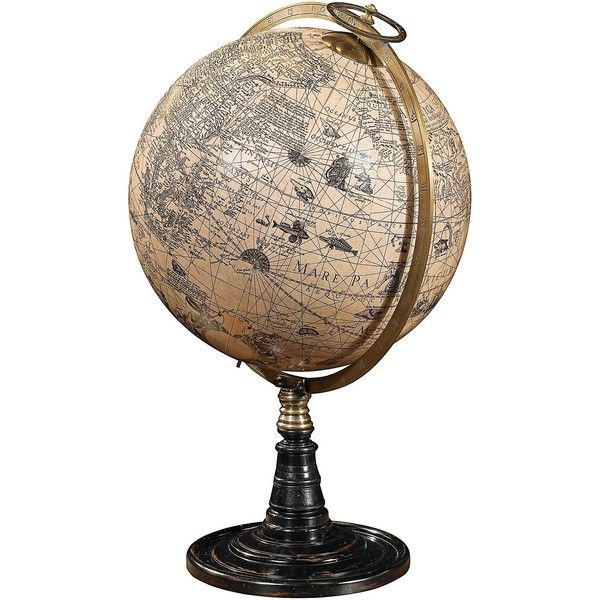17th Century Hondius Old World Globe on Rosewood Stand - #V0360 ($260) ❤ liked on Polyvore