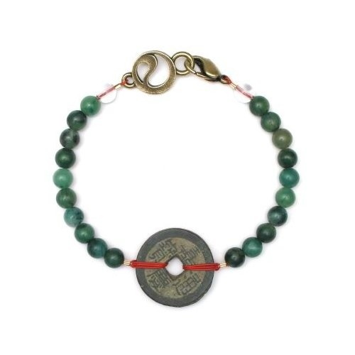 "#Shopping #Bargain #Deals #African #Jade ""Prosperity"" Bracelet with Coin - 6mm beads - Men's - 8""  Price:$74.99"