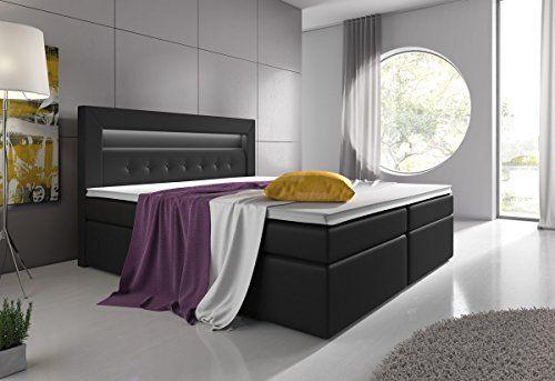 Boxspringbett 180x200 Schwarz mit Bettkasten Visco-Topper 7-Zonen Taschenfederkernmatratze LED Kopflicht Hotelbett Polsterbett Venedig Lift Supreme