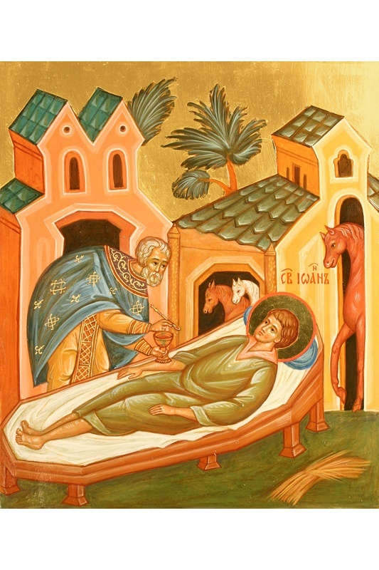 Saint John the Russian receiving his last communion. Three years later, the same priest that gave John his last communion, moments before his death, saw a vision of the Saint telling him that his dead body had been preserved unspoiled by time, and it should be removed from the grave. God had chosen to preserve the body as a blessing for people of all times.