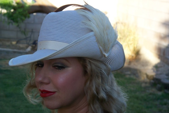 Vintage 60's Mr Monroe white hat with by UniqueLovelyPieces, $42.50