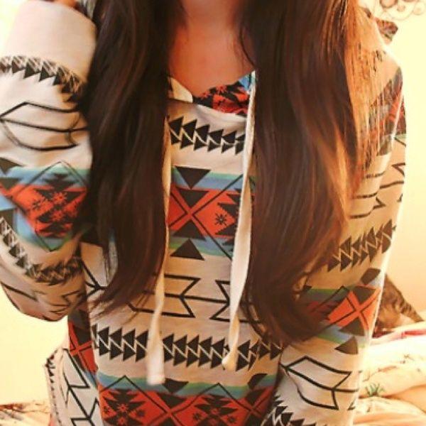 Tribal print pullover hoodie! (:Hipster Fashion, Tribal Sweater, Hoodie, Long Hair, Aztec Prints, Tribal Prints, Tribal Pattern, Dreams Closets, Hippie Fashion