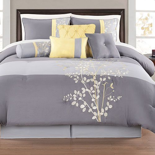Yellow and gray bedding sets charlee 12 piece comforter for Grey and yellow bedroom