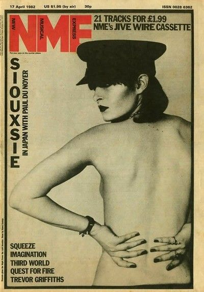Siouxsie on the cover of NME, 1982. Don't think I ever started looking for and buying NME until about winter 1984-1985. It was a pretty big deal back then.