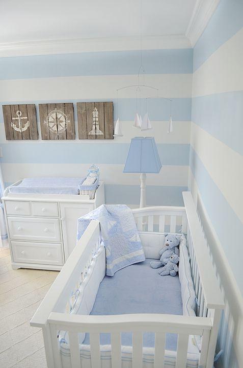 nautical nursery - blue and white stripe walls