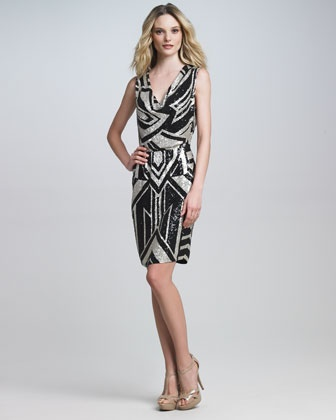 Graphic-Beaded Cocktail Dress by Naeem Khan at Bergdorf Goodman.