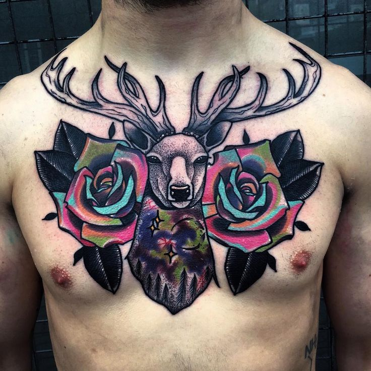 Stag tattoo.  Little Andy's surreal tattoos have a certain electricity to them, acing the abstract and geometric world of tattoos. He is truly in a league of his own making. Enjoy!