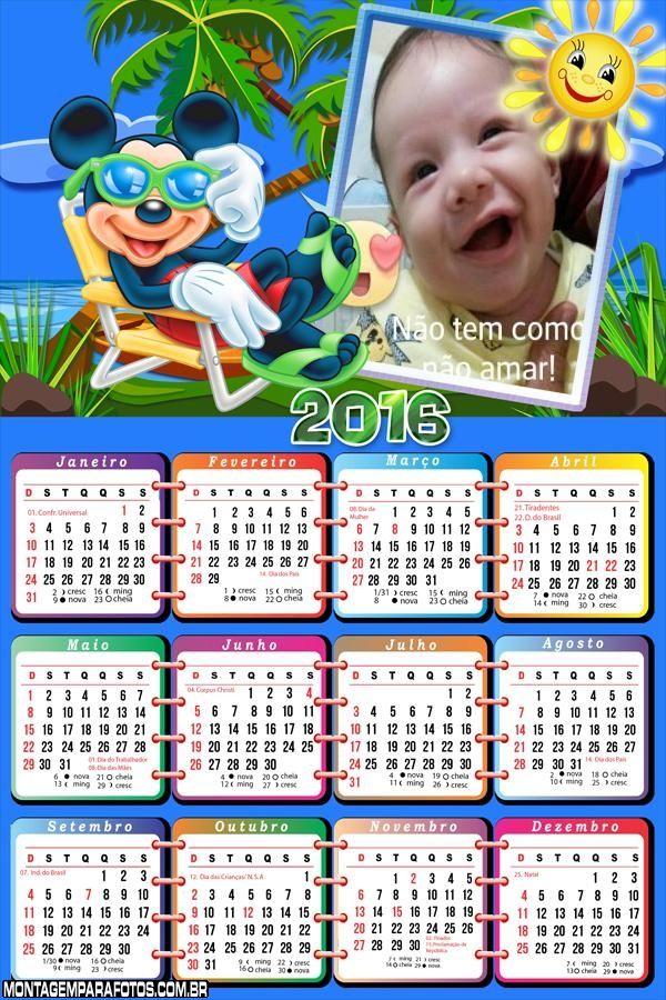 Calend rio de f rias do mickey disney 2016 montagem para for Calendario ferias