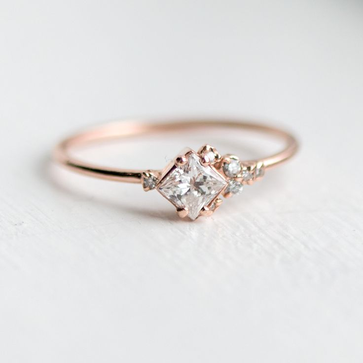 In the Sky with Diamonds Ring by Melanie Casey - Princess cut shooting star engagement ring
