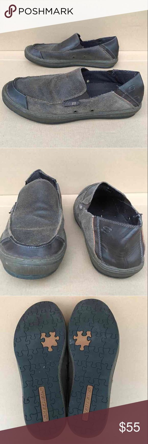 Skechers Men's Shoes Size 11 Skechers Men's Shoes in good used condition. Size 11. Show signs of usage. No rips or tears, no holes, no scuffing of the black rubber outsole. Brown color leather upper. No box and accessories. Skechers Shoes Loafers & Slip-Ons