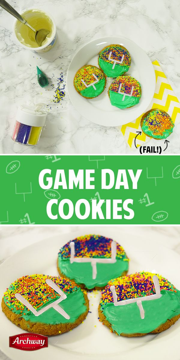 No matter the game's outcome, you can't lose with these game-day cookies! You'll need: green frosting, white frosting, piping bag, sprinkles, Archway® cookies.  Instructions: Cover the cookie in green frosting, then pour multicolored sprinkles on the top half of the cookie. Put white frosting in a piping bag. Draw on the field goal. Enjoy!