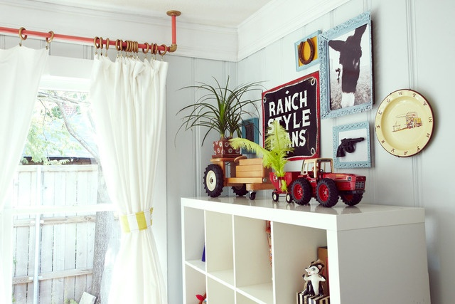 Nursery #Nursery #Baby: Chic Nurseries, Cowboys Rooms, Hanging Curtains, Pipes Curtains Rods, Farms Theme, Cowboys Nurseries, Industrial Curtains Rods, Cowboys Chic, Kids Rooms