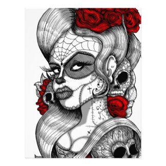 day_of_the_dead_sugar_skull_tattoo_girl_graphic_letterhead ...