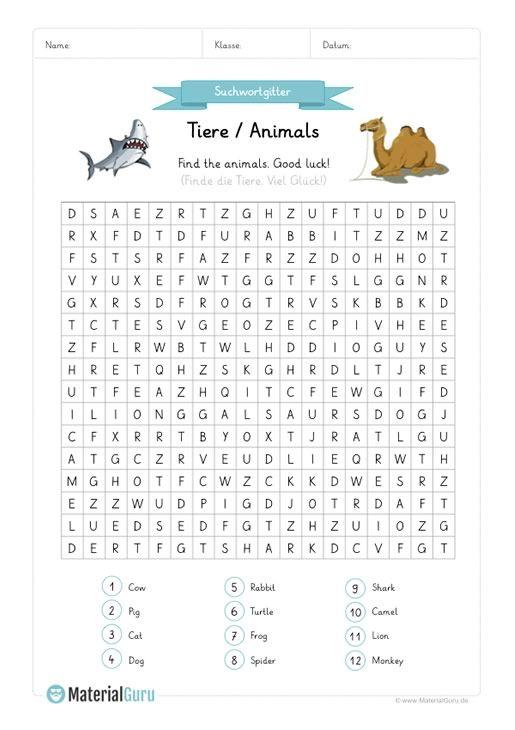 neu ein kostenloses englisch arbeitsblatt zum thema tiere animals f r die grundschule auf. Black Bedroom Furniture Sets. Home Design Ideas