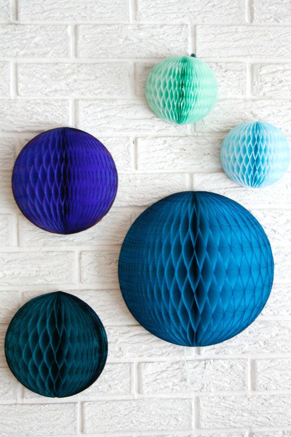 paper party decor ... 3 honeycomb lantern ... candy table buffet tablescape // weddings // birthday party // baby shower // nursery on Etsy, $14.00