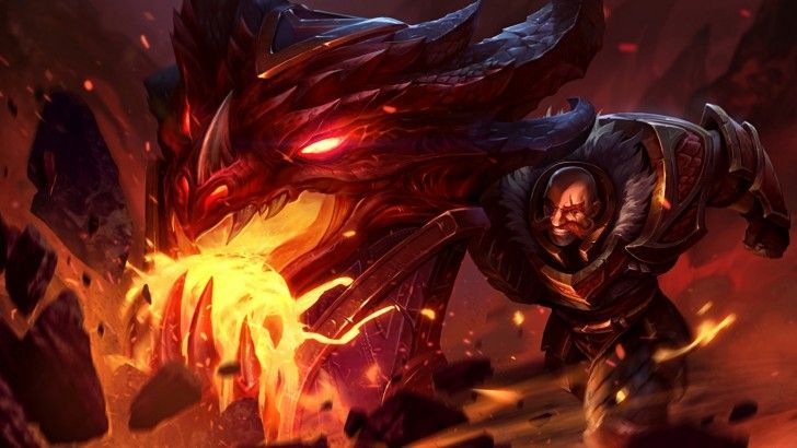 Download Braum Dragonslayer Skin Splash Art League of Legends 1366x768