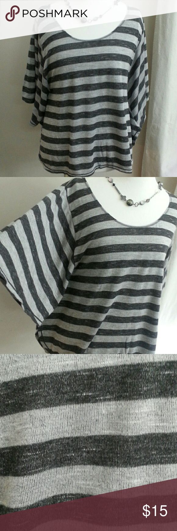 Max Studio slouchy batwing top Black and grey heathered stripes and wide batwing sleeves. This top is long enough to work Max Studio Tops Blouses