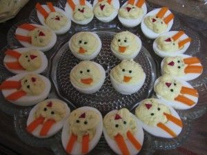 Deviled Eggs decorated to look like bunny / bunnies / chick VERY cute for Easter / Spring appetizers / dinner