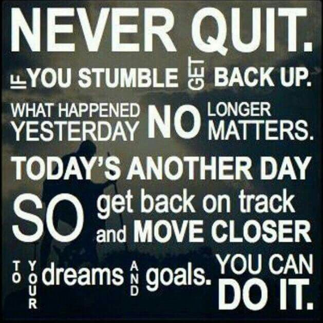 When you fall off the wagon, get back up, dust yourself off and start again or pick up where you left off.