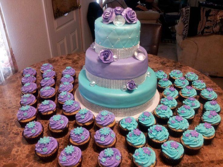 Purple and turquoise wedding cake/cupcakes!