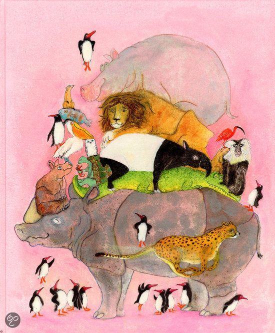 Jesse Goossens - Springende pinguins en lachende hyena's | Lemniscaat 2013 | illustraties van Marije Tolman | ter ere van 50-jarig bestaan Blijdorp | Allerlei weetjes over dieren. Zo zag je de dieren nog nooit! Als een kameel kwaad wordt, kotst hij groen maagslijm over je heen. Een giraf kan zijn eigen oren schoonlikken. Een luiaard beweegt zo langzaam dat er groene algen tussen zijn haren groeien. | www.bol.com/nl/p/springende-pinguins-en-lachende-hyena-s/9200000009983878/