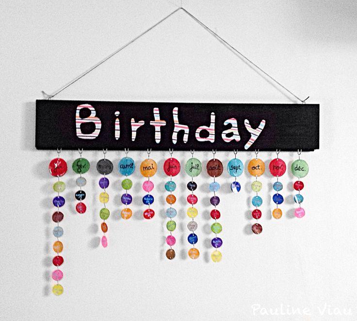 Calendrier des anniversaires. Par Pauline Viau. / Diy / Bricolage.