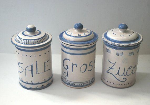 Set di tre barattoli  da cucina con coperchio in di LabLiu su Etsy, €35.00