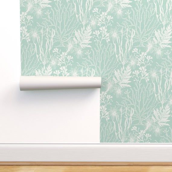 Seaweed Wallpaper Poseidon Aqua By Littlerhodydesign Etsy Wallpaper Self Adhesive Wallpaper Peel And Stick Wallpaper