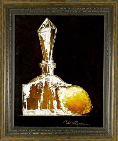 Jan Rapin: Karafa a citron. Technika:  olej na plátně. Rozměr bez rámu: 50 x 40 cm. Rozměr s rámem: 62 x 52 cm. #art #gallery #rapis #design #stylish #home
