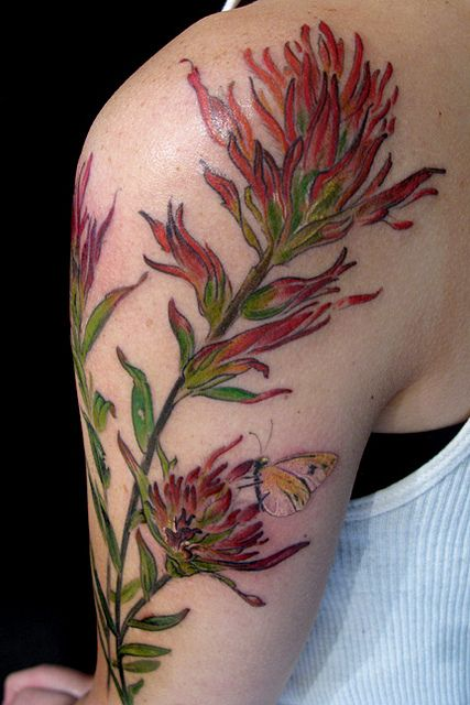 Castilleja (Indian Paintbrush) by Esther Garcia. #ink #tattoo