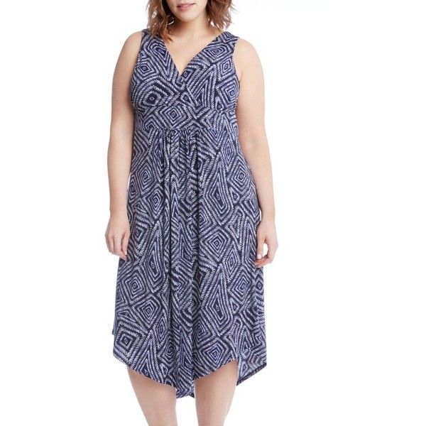 Plus Size Women's Karen Kane Asymmetrical Hem Geo Print Midi Dress (160 CAD) ❤ liked on Polyvore featuring plus size women's fashion, plus size clothing, plus size dresses, plus size, print, plus size midi dresses, jersey midi dress, asymmetrical hem dress, women plus size dresses and empire waist summer dresses