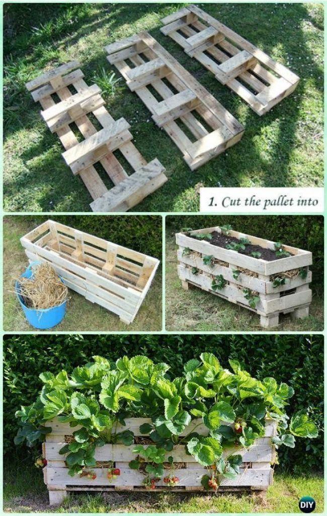 Instructiongardening Vertikale Paletten Pflanzer Erdbeer Palette Planter Pallets Garden Vertical Vegetable Garden