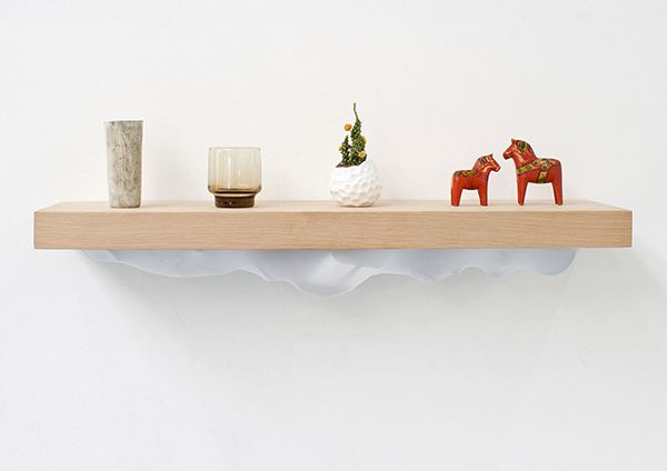 The Noma Shelf is a statement on habitual consumption, reminding us of the things we already own, while accommodating the new. Based on the traditional Japanese tokonoma, the shelf is sized for displaying small artistic objects. However, if you slide the shelf away from the wall, a stretchy lycra pouch is revealed for storing cherished items and trinkets.
