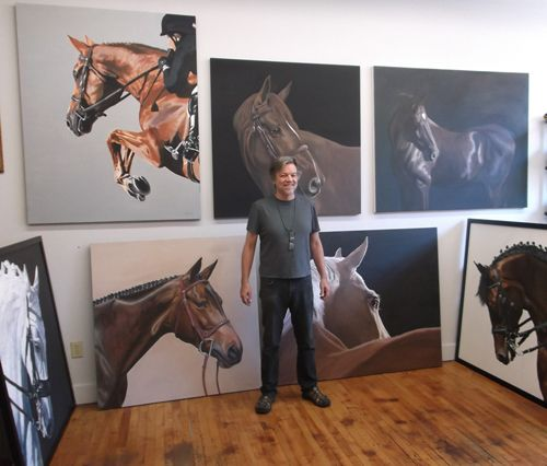 JL in studio with paintings ready for Charleston, SC show, 7 16 13