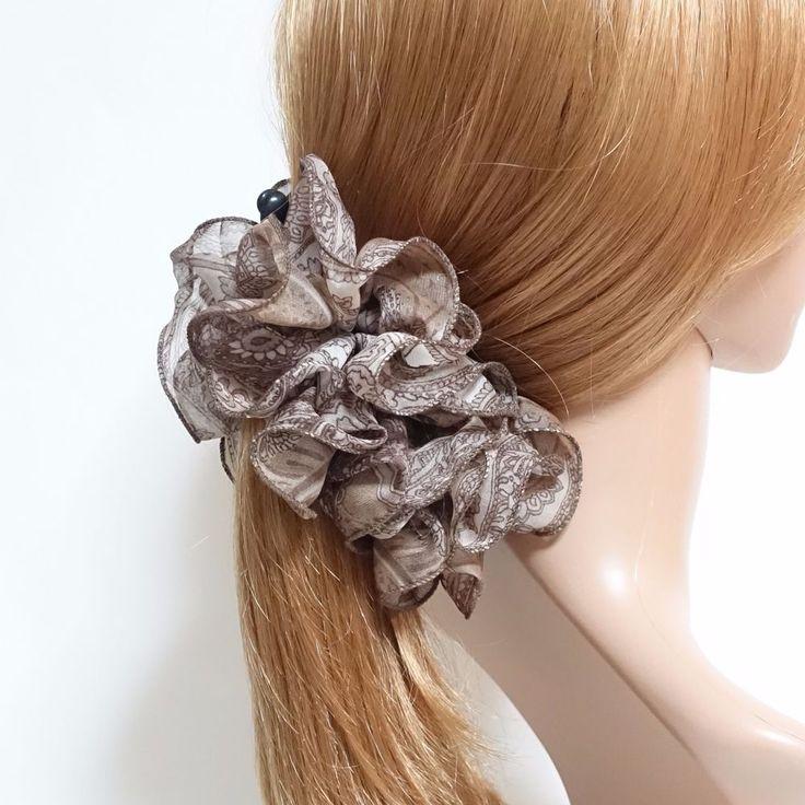 Chiffon Paisley Print Ruffle Wave Banana Hair Clip Women Hair Clamp  #VeryShine #Clips #CasualSpecialDay
