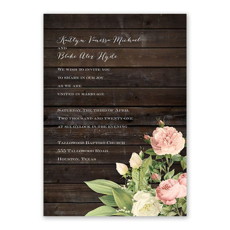 make your own wedding invitations online free%0A Rustic Floral  Invitation with Free Response Postcard