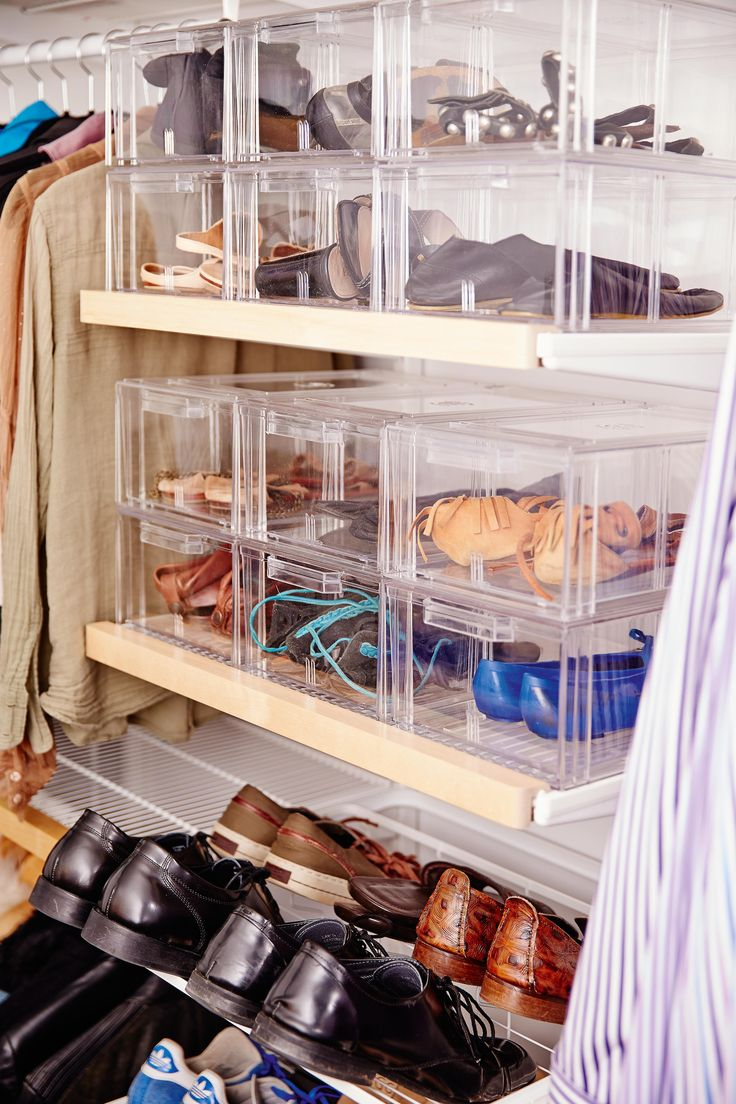 Shoe Storage Elfa White Gliding Shoe Shelf Shoes Are Easily Visible And Accessible Large