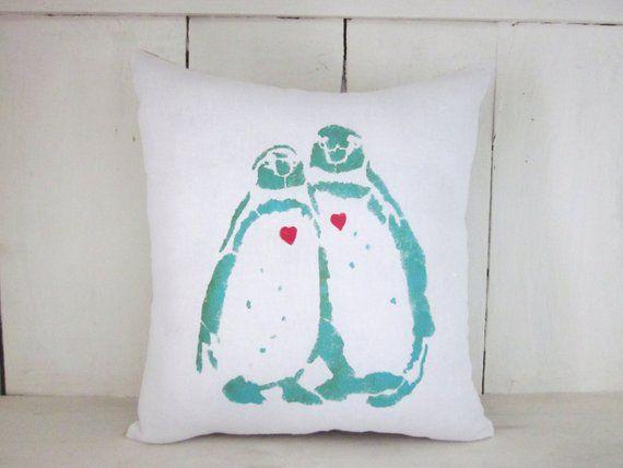 Penguin Pillow Rustic Pillows Burlap Pillows Decorative