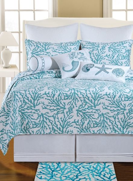 Tropical Quilts | Cora Blue Quilts & Accessories C | Tropical, Seashell & Beach Bedding, Quilts, Duvets and Comforter Sets | PaulsHomeFashions.com