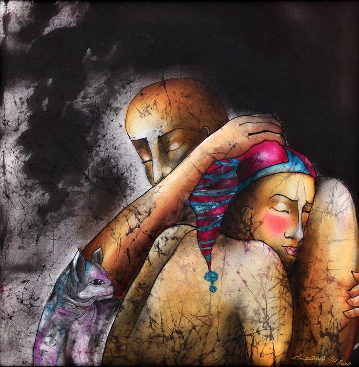 By Gunseli Toker aşkla savrulmak/Dispersed by love. 45x45 mix media on silk. Textile art