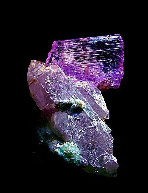 Kunzite crystal on a Quartz and Fluorite matrix   Flickr - Photo Sharing!