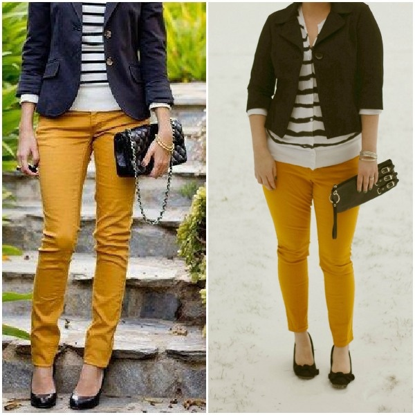 Mustard yellow pants + stripes // a perfect date outfit from Lena B Actually | blog copycat ...