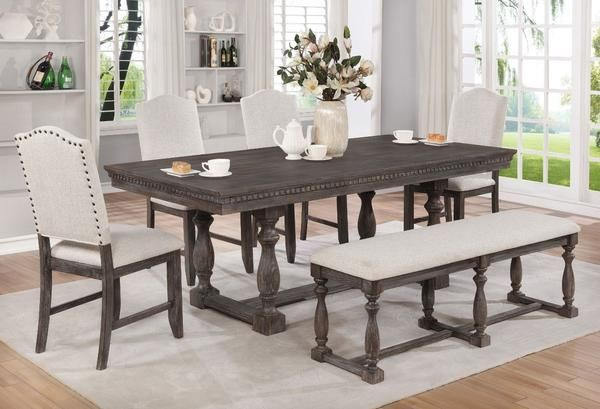 This Marlene Regular Height Table With 4 Chairs Is An Elegant Piece In Any Dining Room De Dining Table With Bench Rustic Dining Room Table Rustic Dining Room