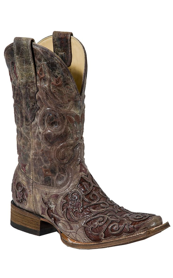 Corral® Men's Distressed Brown Rust with Brown Rust Caiman Inlay Square Toe Cowboy Boot