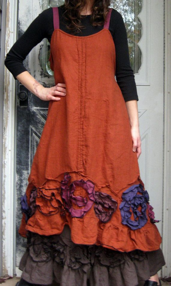 Rust medium weight linen in a Flouncy Swirl Dress. This is so fun to make, I am loving to make these! Bias Flouncy swirls along a ruffle