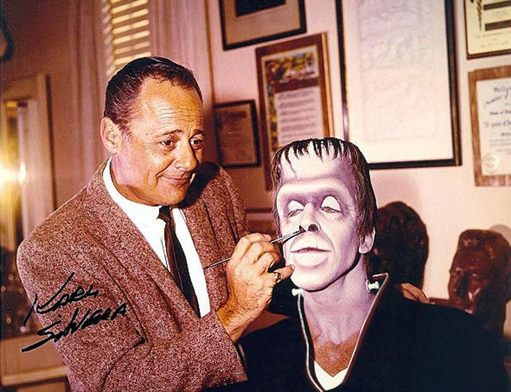 Makeup artist Karl Silvera applies Fred Gwynne's 'Herman Munster' makeup for The Munsters (1964-66, CBS)