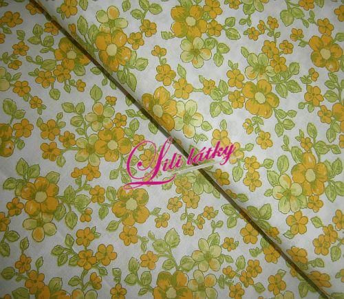 Bavlněná látka Žlutolimetkové květy