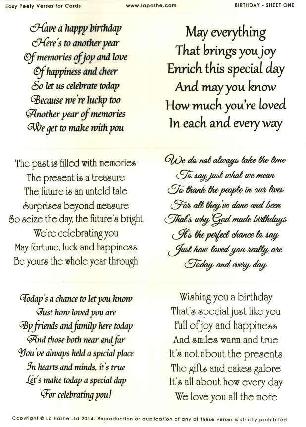 La Pashe Easy Peely Verses for Cards - Birthday #1:
