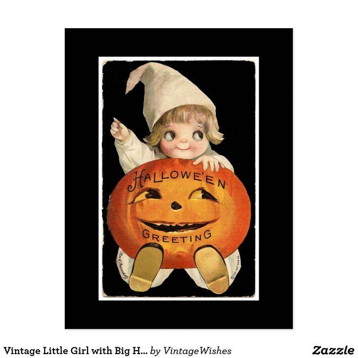 Vintage Little Girl with Big Halloween Pumpkin Postcard